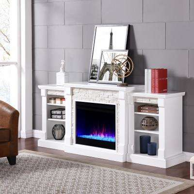 Brenamon Color-Changing 72 in. Electric Fireplace in White