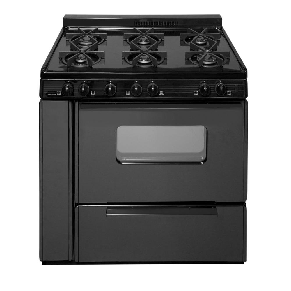 Gas Range With Sealed Burners In Black