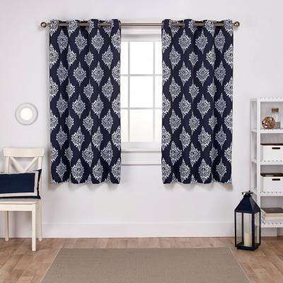 Medallion 52 in. W x 63 in. L Woven Blackout Grommet Top Curtain Panel in Peacoat Blue (2 Panels)