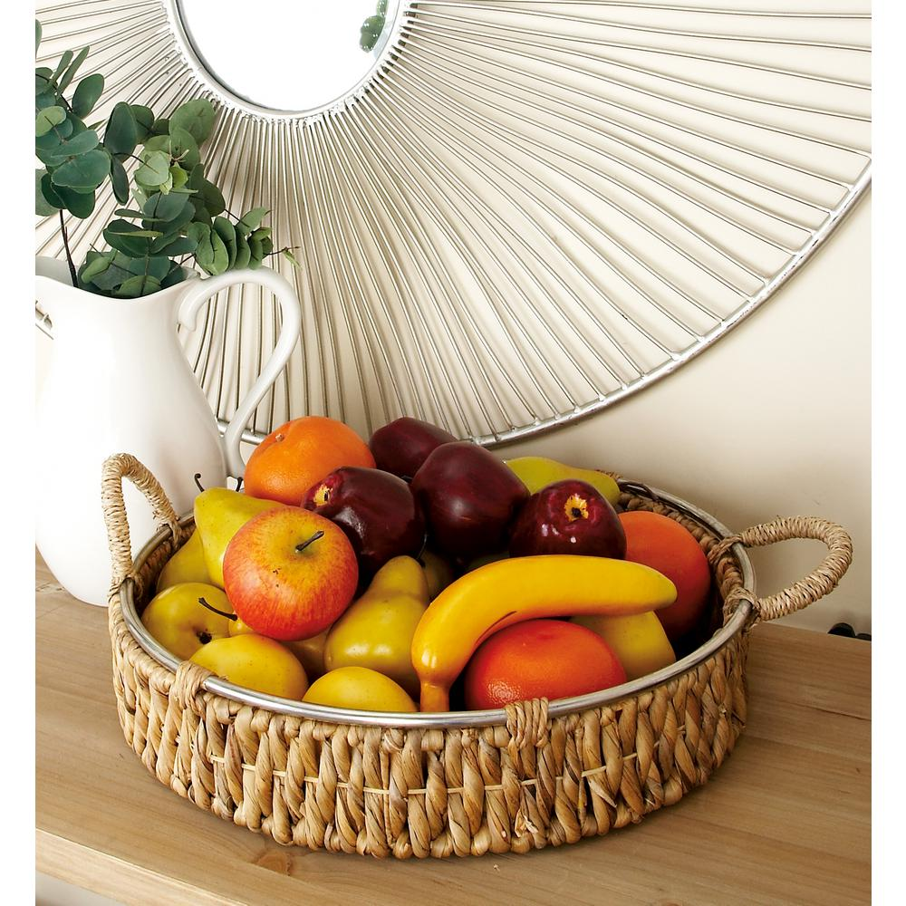 Brown Seagrass Round Baskets with Wrapped Handles and Silver Rim (Set