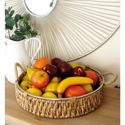 Brown Seagrass Round Baskets with Wrapped Handles and Silver Rim (Set of 2)