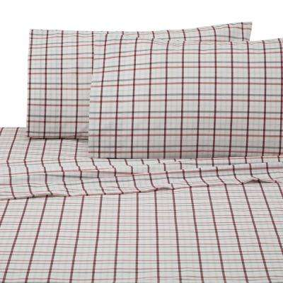 Carter Plaid 4-Piece Grey/Red Cotton/Poly Queen Sheet Set
