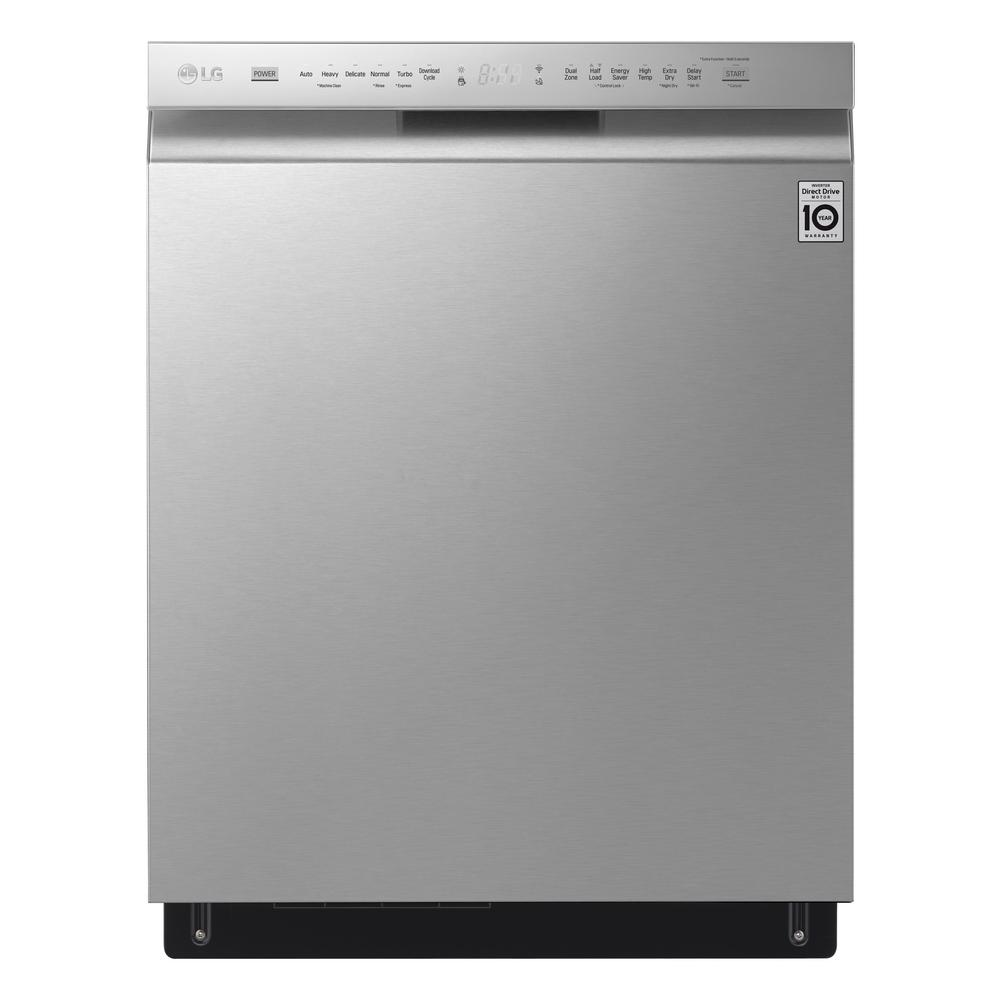 LG Electronics Front Control Tall Tub Smart Dishwasher with QuadWash, 3rd Rack and Wi-Fi Enabled in Stainless Steel, 46 dBA