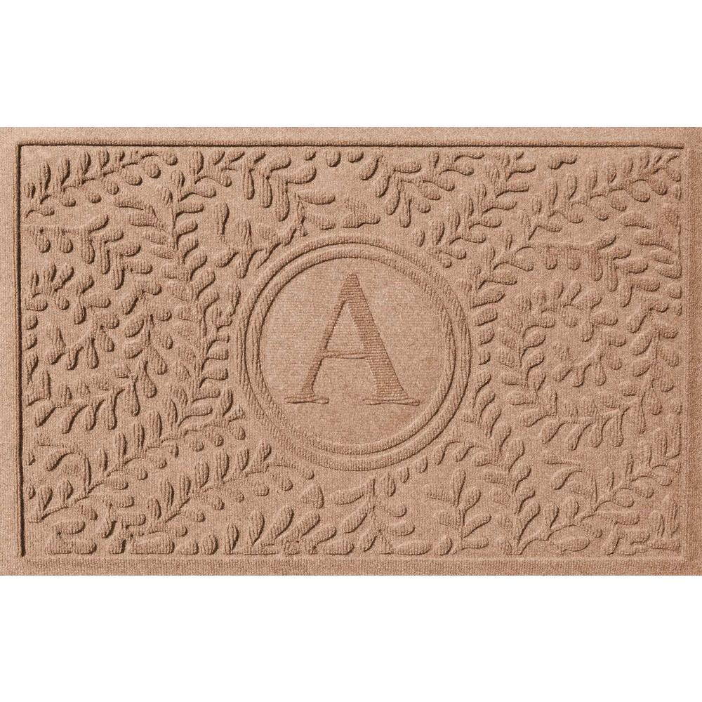 Bungalow Flooring Boxwood Medium Brown 24 in. x 36 in. Monogram A Door Mat