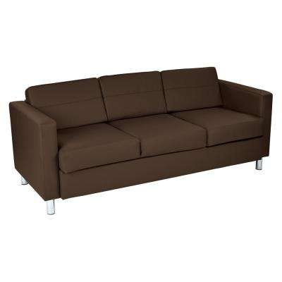 Pacific Dillon Java Vinyl Sofa Couch with Box Spring Seats and Silver Color Legs