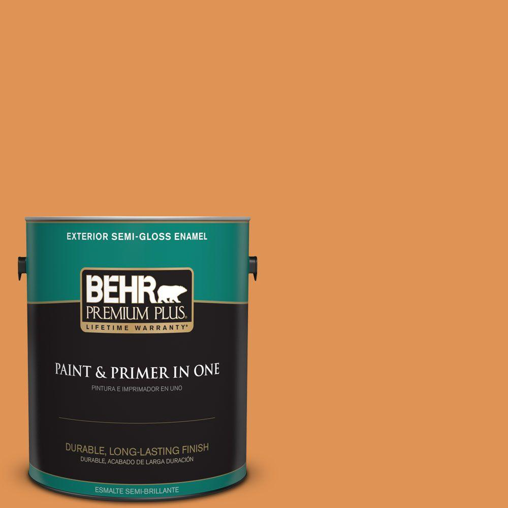 BEHR Premium Plus 1-gal. #270D-6 Pumpkin Toast Semi-Gloss Enamel Exterior Paint