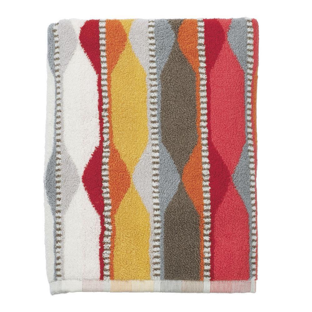 Wave Lengths Orange Geometric Cotton Hand Towel