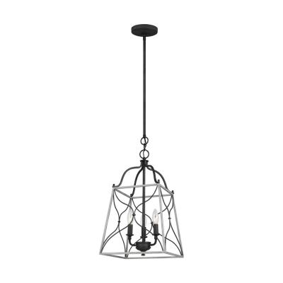 Carra Small 3-Light Weathered Zinc Hall/Foyer Pendant with White Wash Cage Shade with Dimmable Candelabra LED Bulb