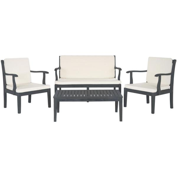 Del Mar Ash Gray 4-Piece Wood Patio Conversation Set with Beige Cushions