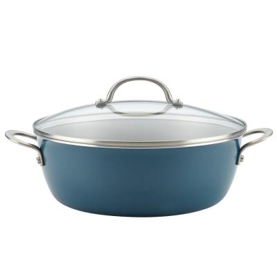 Home Collection 7.5 qt. Aluminum Nonstick Stock Pot in Twilight Teal with Glass Lid
