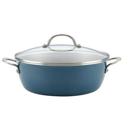Home Collection 7.5 Qt. Porcelain Enamel Nonstick One Pot Meal Stockpot in Twilight Teal