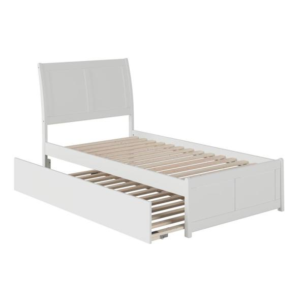 Portland White Twin Platform Bed with Matching Foot Board with Twin Size Urban Trundle Bed