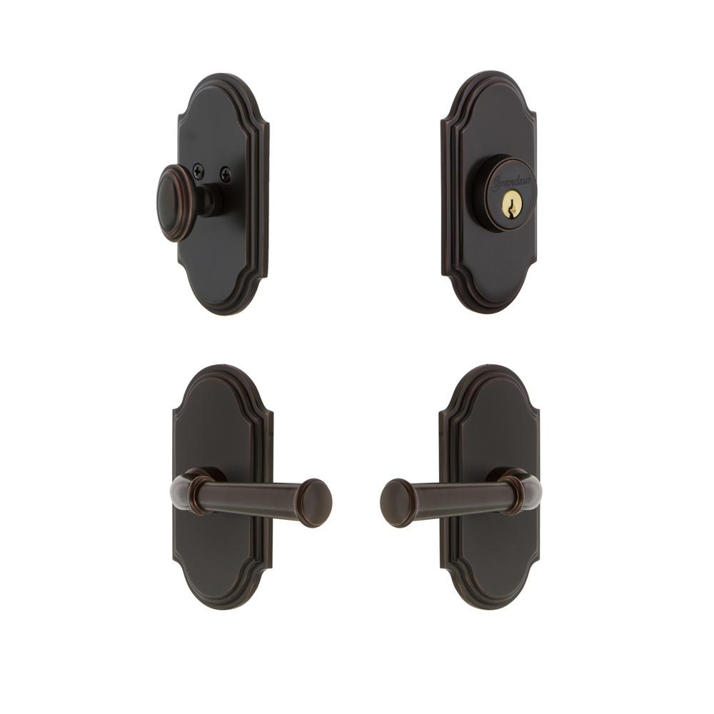 Grandeur Arc Plate 2 3 8 In Backset Timeless Bronze Georgetown Door Lever With Single Cylinder Deadbolt 834752 The Home Depot