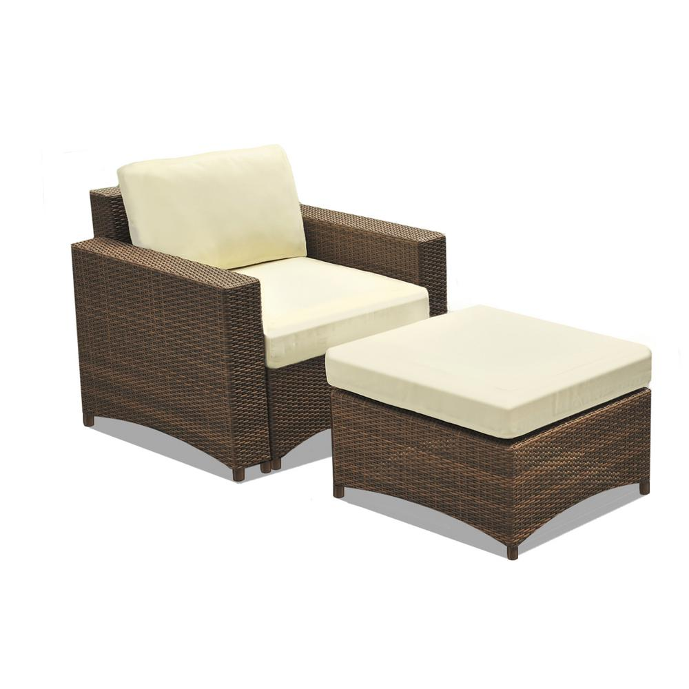 Peachy W Unlimited Studio Shine 2 Piece Metal Frame Wicker Outdoor Patio Set Of Chair And Ottoman With Beige Cushions Bralicious Painted Fabric Chair Ideas Braliciousco