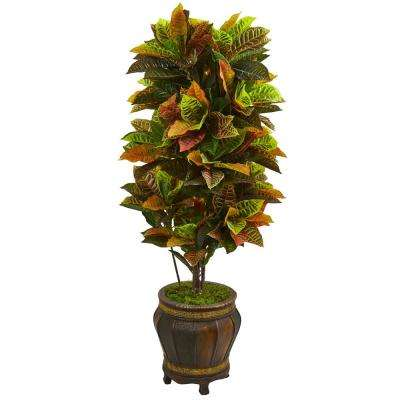 Real Touch 5.5 ft. Indoor Croton Artificial Plant in Decorative Planter