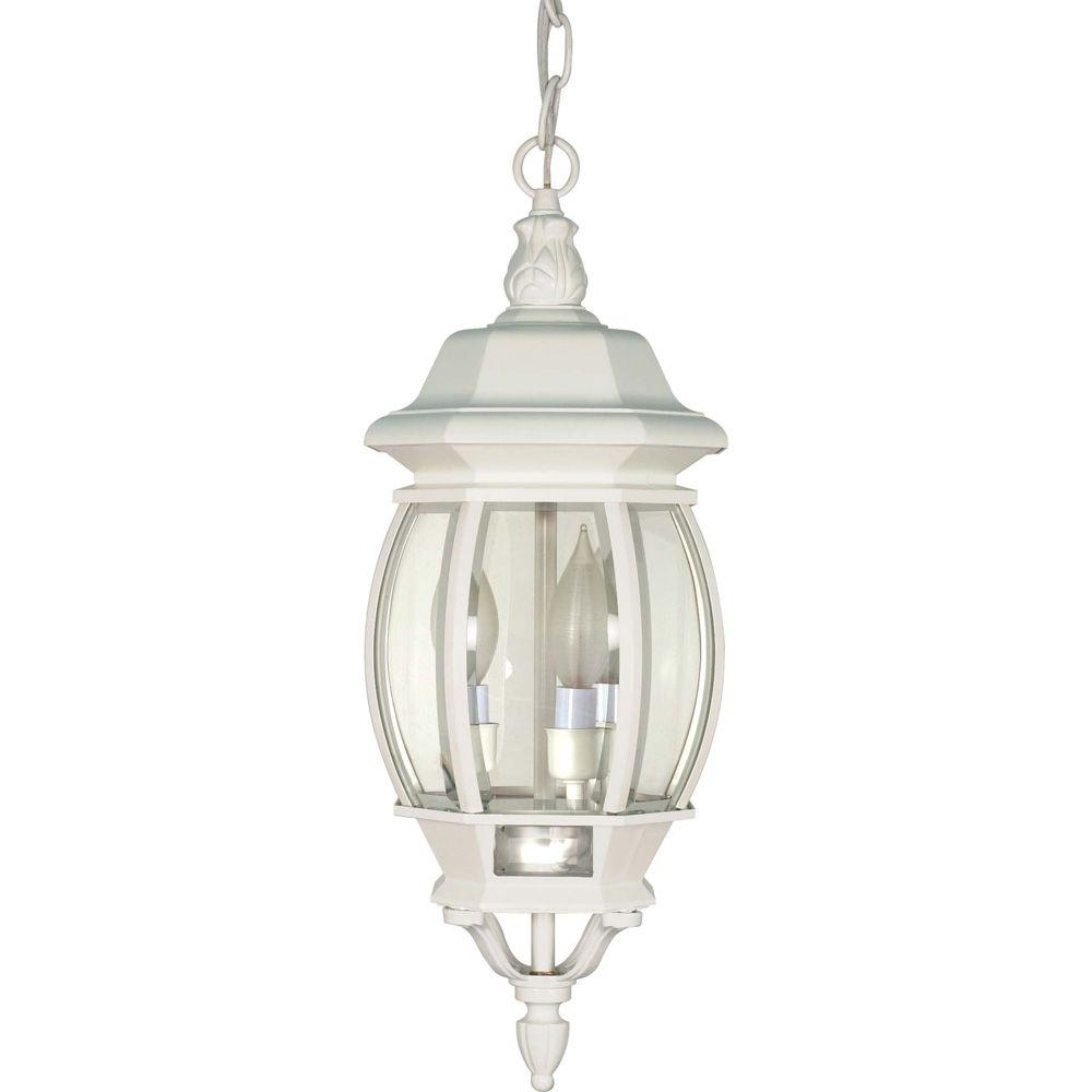 3-Light Outdoor White Hanging Lantern with Clear Beveled Glass