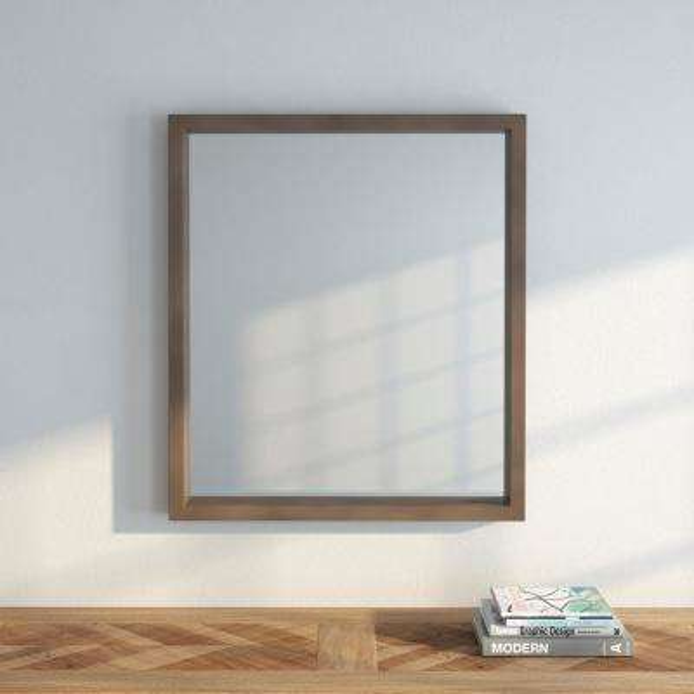 Sedona 28 in. x 32 in. Framed Mirror in Fawn Grey
