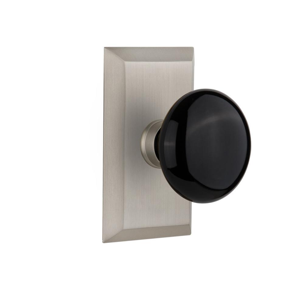Studio Plate 2-3/8 in. Backset Satin Nickel Privacy Bed/Bath Black Porcelain Door Knob