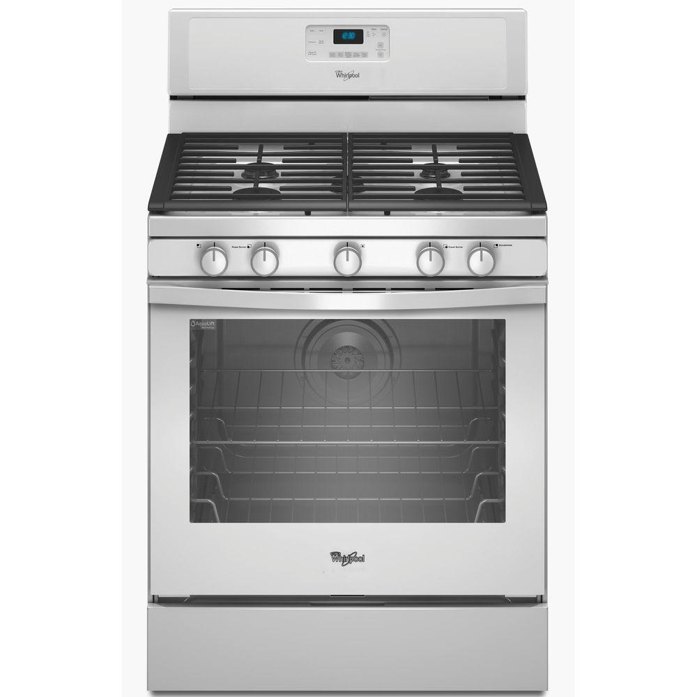 Whirlpool 5.8 cu. ft. Gas Range with Self-Cleaning Convection Oven in White