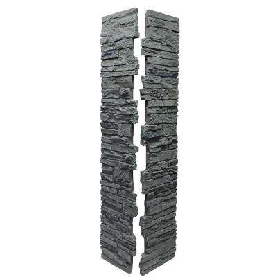 Slatestone Rocky Mountain Graphite 8 in. x 8 in. x 41 in. Faux Polyurethane Stone 2pc Post Cover