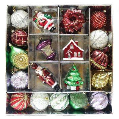 hah ornament set festive garnet 19 count - Glass Christmas Bulbs For Decorating