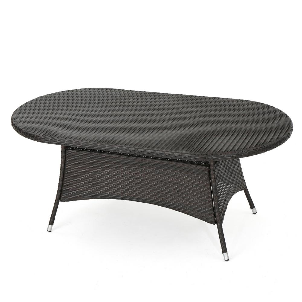 Le House Corsica Multi Brown Oval Wicker Outdoor Dining Table