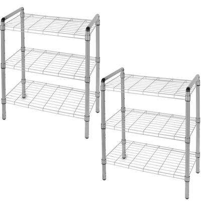 23 in. 3-Tier Quick Rack Adjustable Wire Shelving Organizer (2-Pack)