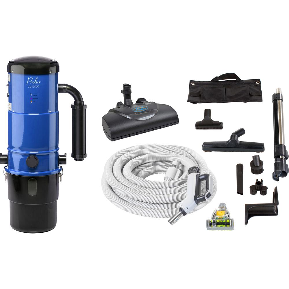 Prolux CV12000 Blue Central Vacuum Power Unit with Electric Hose and Power Nozzle Kit