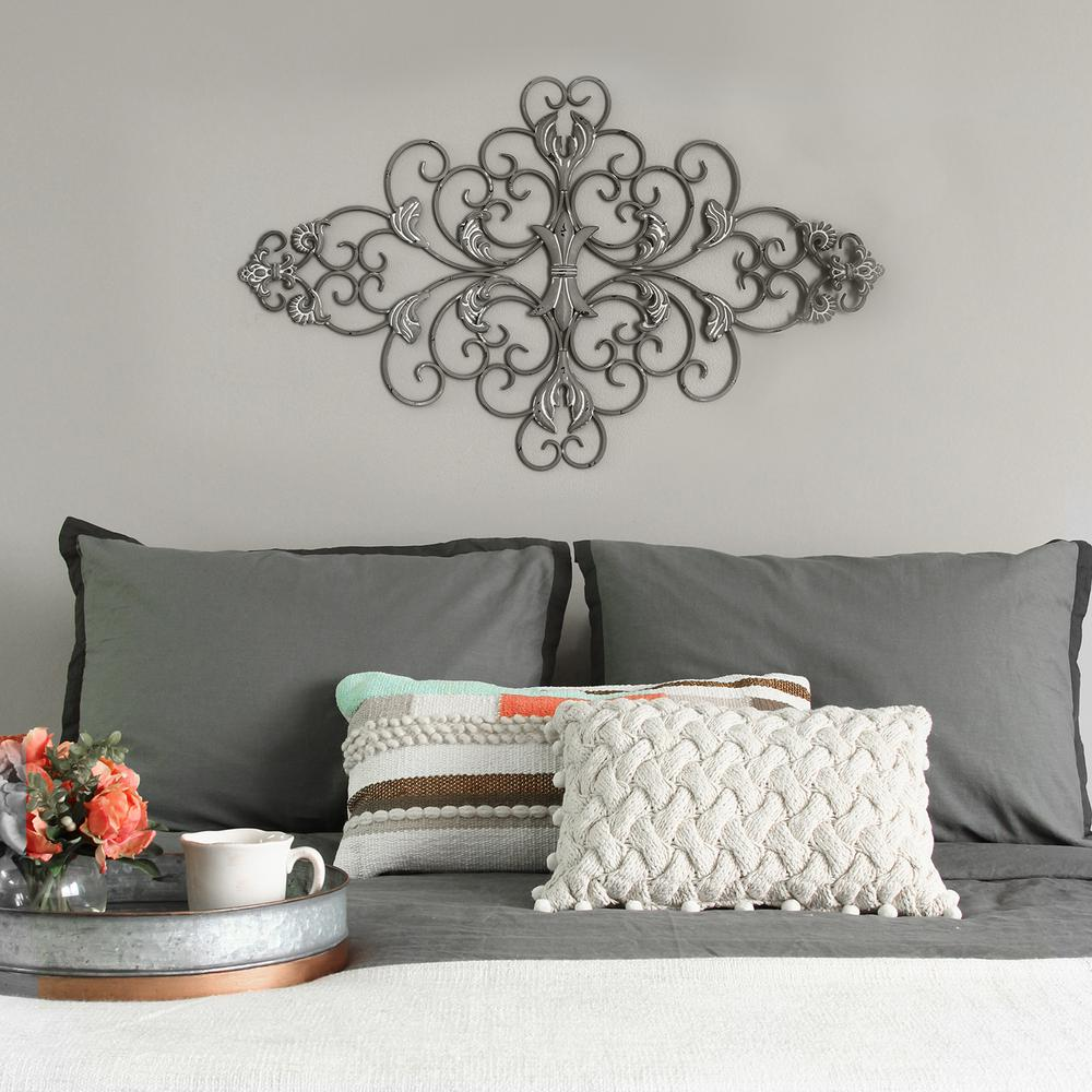 Distressed Home Decor: Stratton Home Decor Distressed Grey Scroll Wall Decor