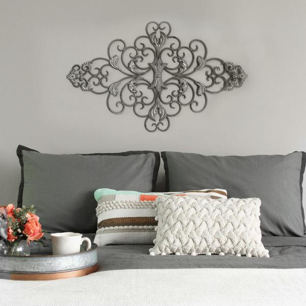 Distressed Grey Scroll Wall Decor Stratton Home