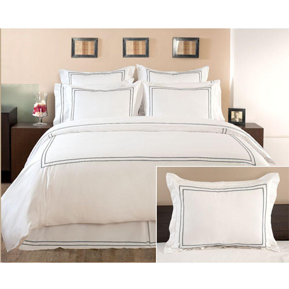 Home Decorators Collection Embroidered Grant Gray Standard Sham