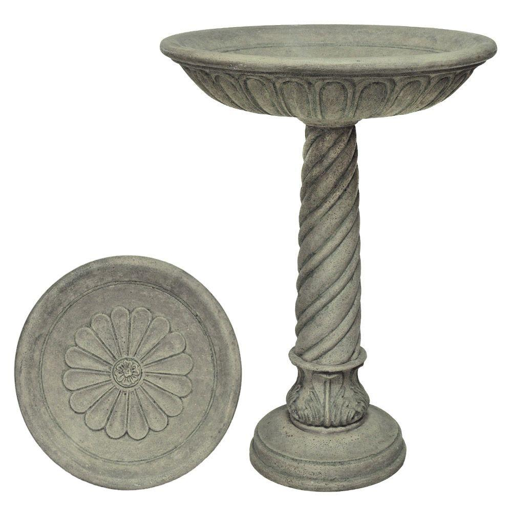 MPG Special Aged Granite Finish Birdbath