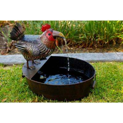 Metal Rooster Fountain