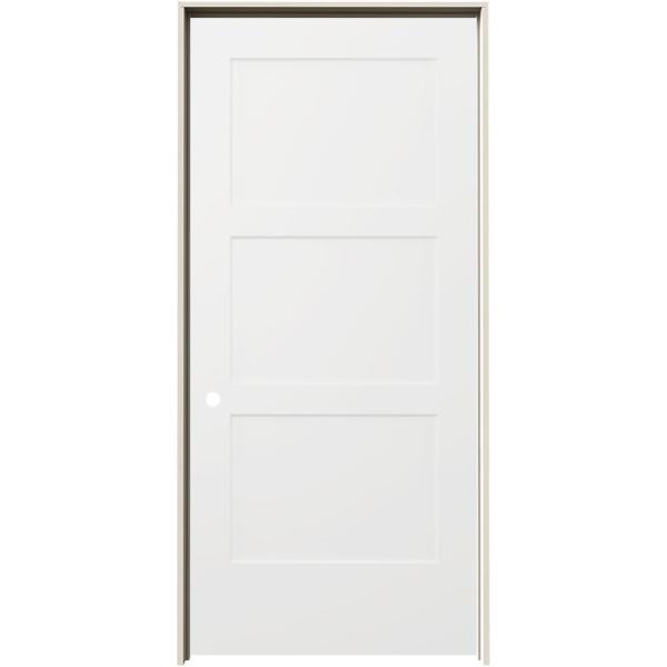 36 in. x 80 in. Birkdale White Paint Right-Hand Smooth Solid Core Molded Composite Single Prehung Interior Door
