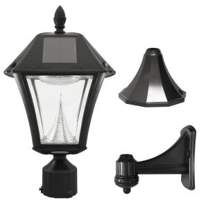 Baytown II Outdoor Black Resin Solar Post/Wall Light with Warm-White LED  sc 1 st  Home Depot & All-Pro 110-Degree Outdoor Grey Quartz Halogen Motion Activated Plug ...