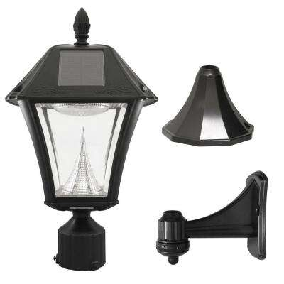 Baytown II 9.75 in. Black LED Outdoor Resin Solar Post/Wall Light