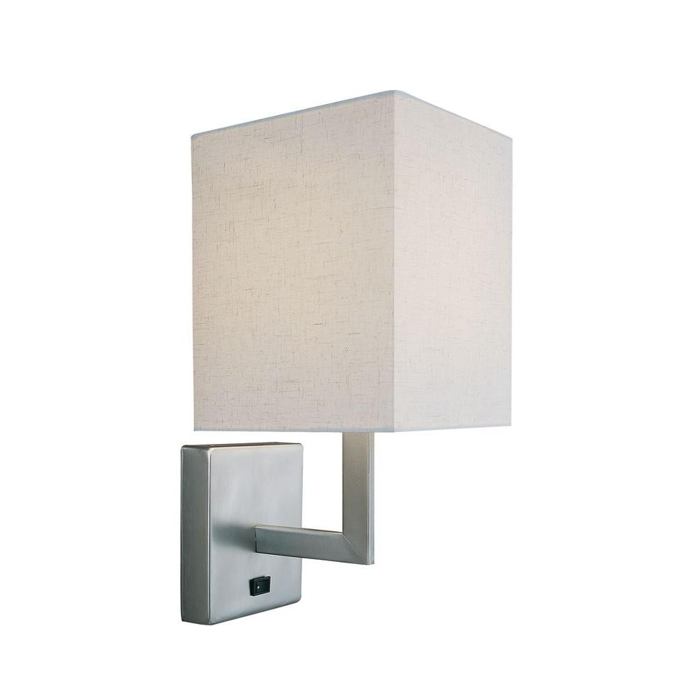 Illumine Designer Collection 1-Light Steel Wall Sconce with White Fabric Shade