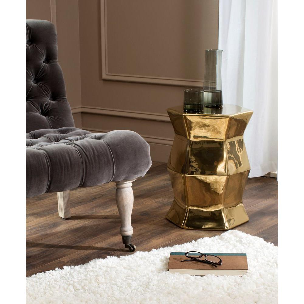 Modern Hexagon Plated Gold Ceramic Garden Stool