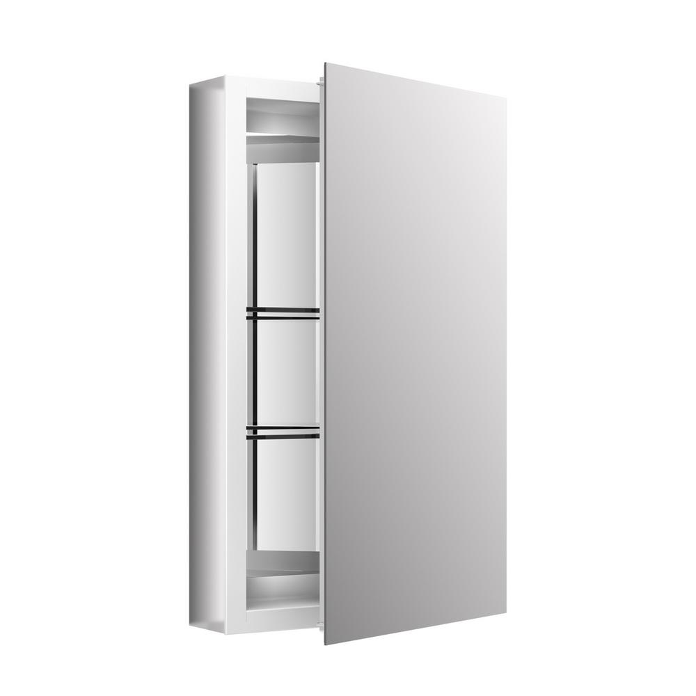 Recessed or Surface Mount Medicine Cabinet in White  sc 1 st  The Home Depot & KOHLER 15 in. x 26 in. Recessed or Surface Mount Medicine Cabinet in ...