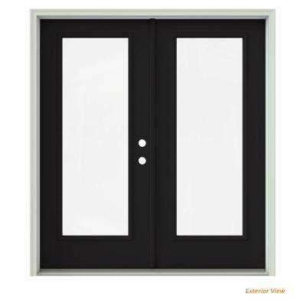 72 in. x 80 in. Black Painted Steel Left-Hand Inswing Full Lite Glass Active/Stationary Patio Door