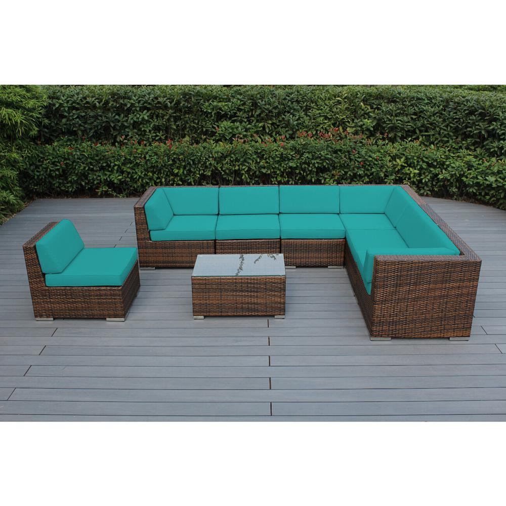 Ohana Depot Mixed Brown 8 Piece Wicker Patio Seating Set With Supercrylic Turquoise Cushions Pn0804mb Tq The Home Depot