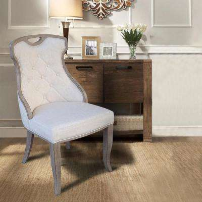 Sofia Beige Linen Back Dining Chair With Handle Set Of 2