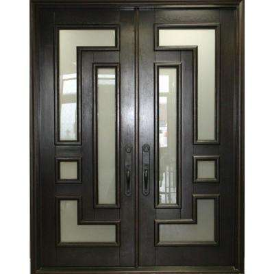 61-1/2 in. x 81 in. 2-Panel Right-Hand/Inswing 2-Lite Clear Matte Bronze Iron Prehung Front Door