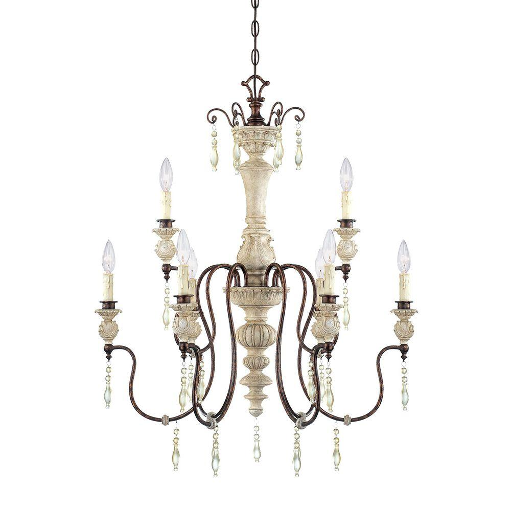 Millennium Lighting 9-Light Antique White/Bronze Chandelier - Millennium Lighting 9-Light Antique White/Bronze Chandelier-7309-AW