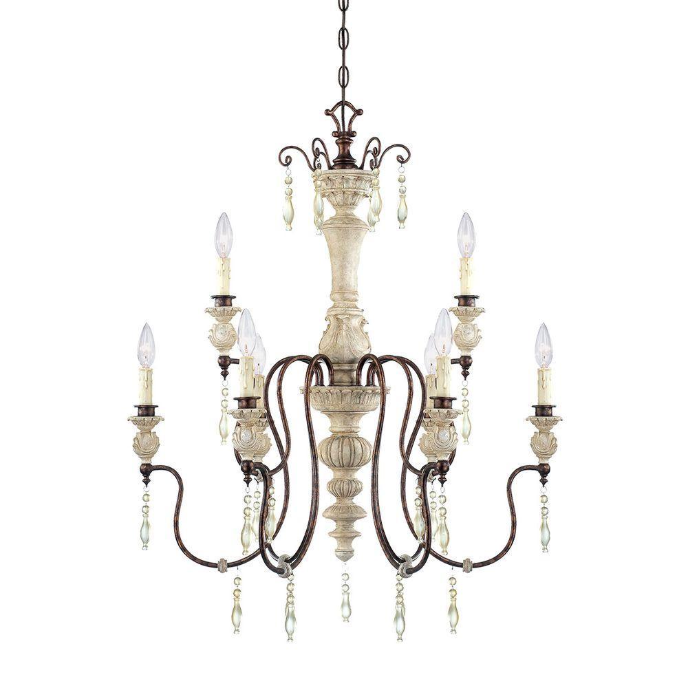 9-Light Antique White/Bronze Chandelier