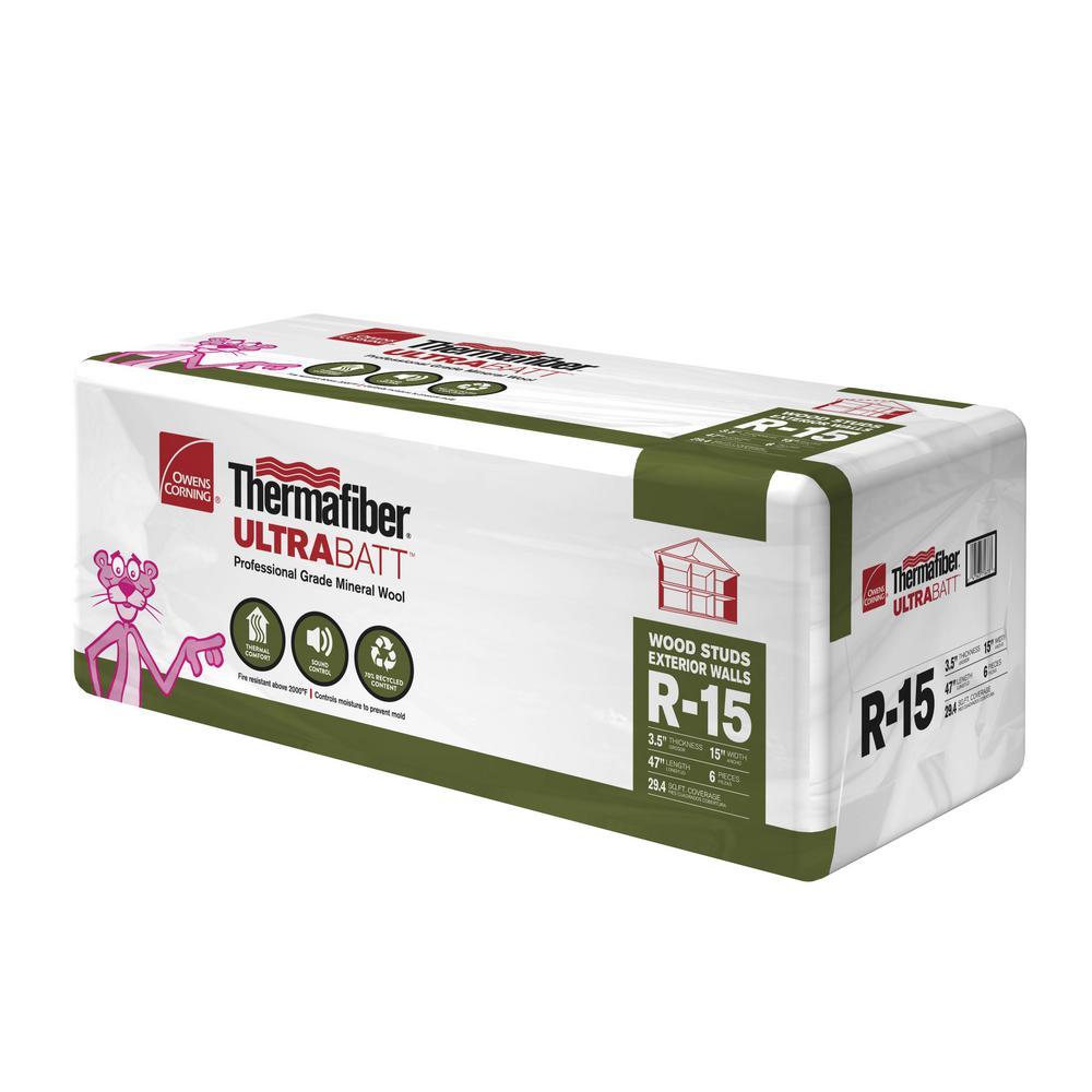 R-15 Thermafiber UltraBatt Unfaced Mineral Wool Insulation Batt 15in. x 47in.