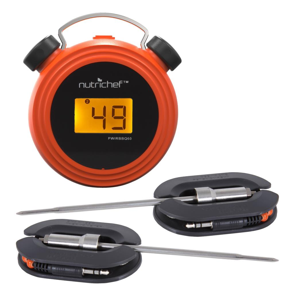 NutriChef Smart Bluetooth BBQ Grill Thermometer-Digital Display Stainless Dual Probes