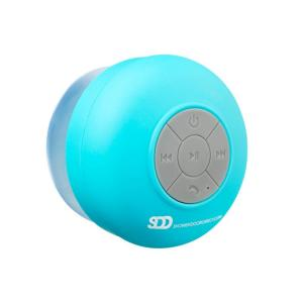 Showerdoordirect-Waterproof Bluetooth Shower Speaker with Suction Cup in Blue