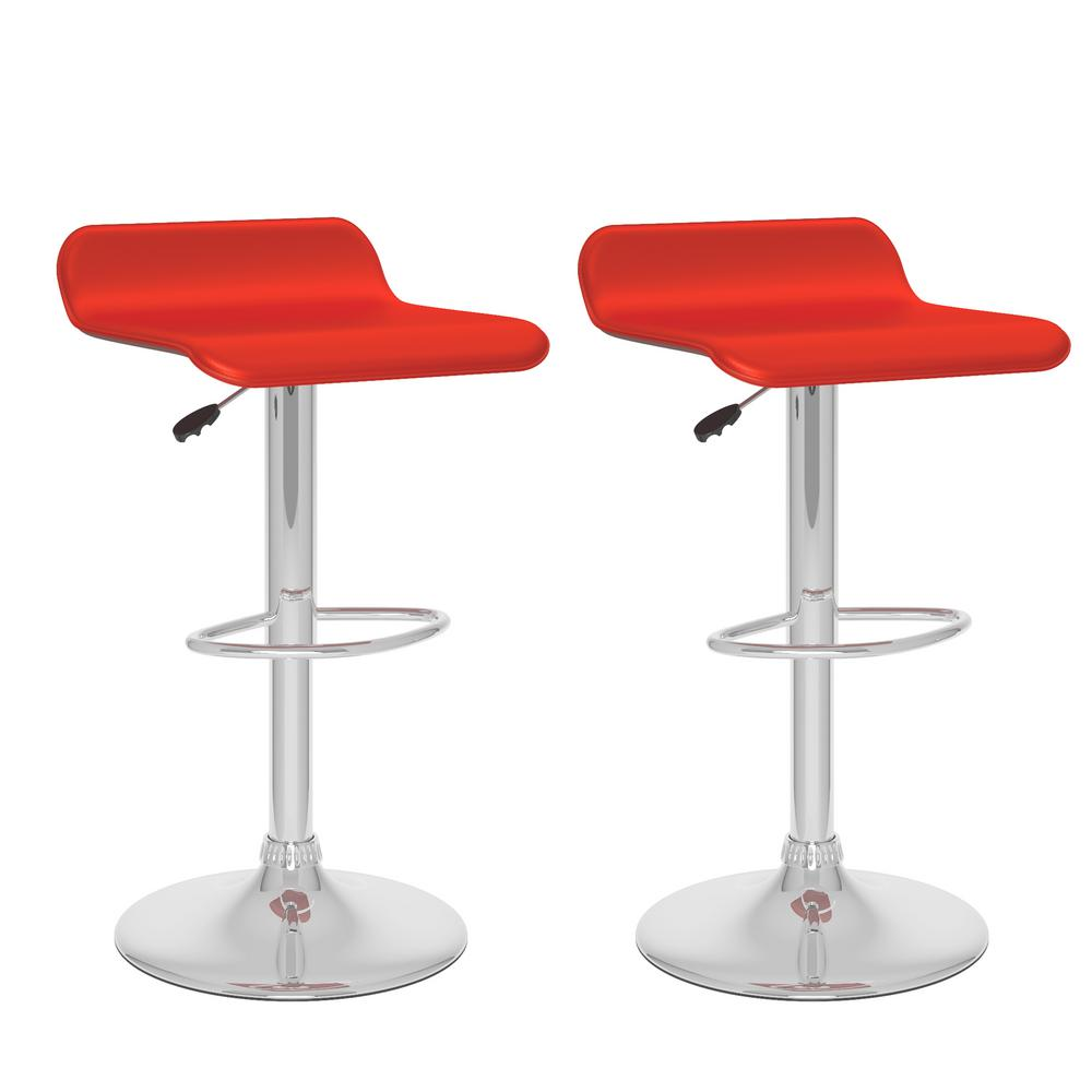 Adjustable Height Red Leatherette Swivel Bar Stool with Curved Seat (Set