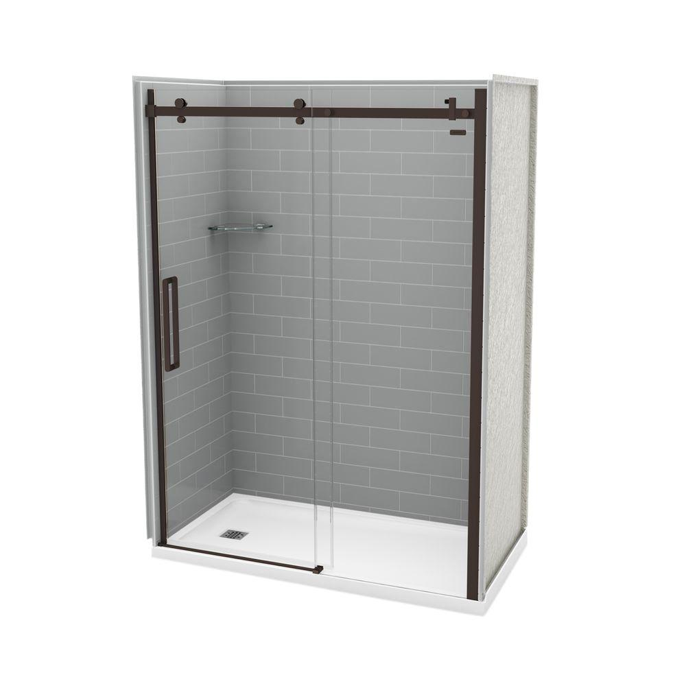 MAAX Utile Metro 32 in. x 60 in. x 83.5 in. Left Drain Alcove Shower Kit in Ash Grey with Dark Bronze Shower Door